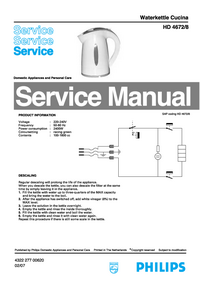 Service Manual Philips Cucina HD4672/8