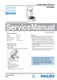 Servicehandboek Philips Senseo HD7800/6