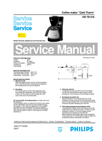 Servicehandboek Philips Café Therm HD 7613/0