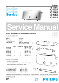 Servicehandboek Philips HD 4850/B