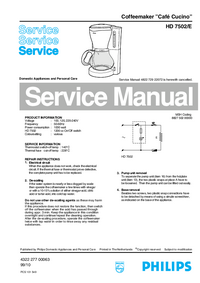 Service Manual Philips Café Cucino HD 7502/E