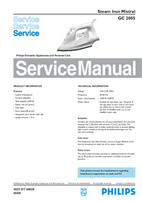 Service Manual Philips Mistral GC 2005