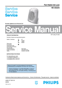 Service Manual Philips Fan Heater de Luxe HD 3522/A