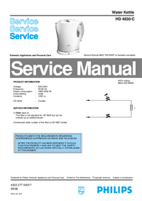 Manual de servicio Philips HD 4630/C
