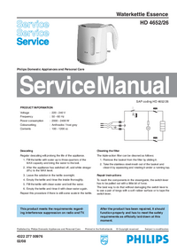 Manual de servicio Philips Essence HD 4652/26