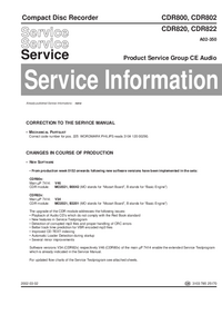 Service Manual Supplement Philips CDR822