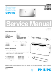 Manual de servicio Philips HD 4840/A