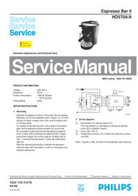 Service Manual Philips Espresso Bar II HD5704/A