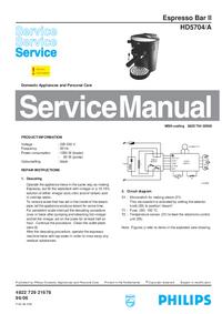 Manual de serviço Philips Espresso Bar II HD5704/A