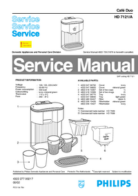 Service Manual Philips Café Duo HD 7121/A