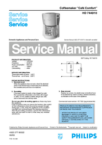 Service Manual Philips Cafe Comfort HD 7440/10