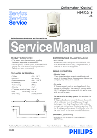 Service Manual Philips Cucina HD7520/16/B