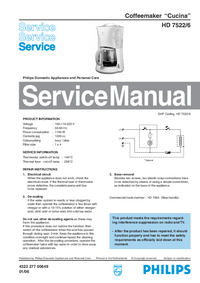 Manual de servicio Philips Cucina HD 7522/6
