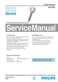 Руководство по техническому обслуживанию Philips Color Precise HP 4551