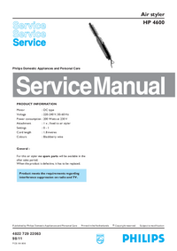 Manual de servicio Philips Air styler HP 4600