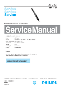 Service Manual Philips Air styler HP 4620