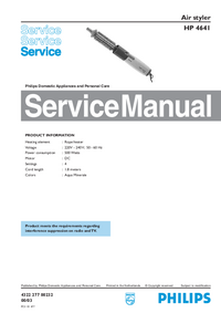 Servicehandboek Philips Air styler HP 4641