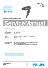 Service Manual Philips HP 4803