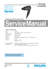 Manual de servicio Philips HP 4803/PB