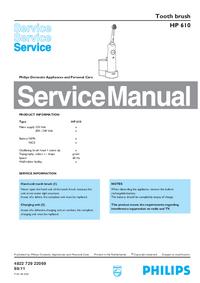 Manuale di servizio Philips HP 610