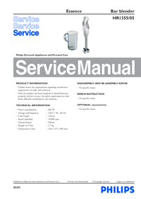 Manual de servicio Philips Essence HR1355/05