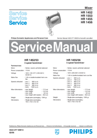 Service Manual Philips HR 1553