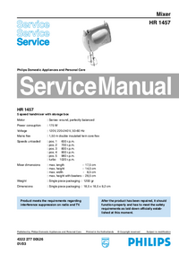 Service Manual Philips HR 1457