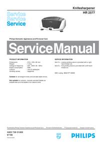 manuel de réparation Philips HR 2577