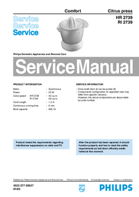 Manual de servicio Philips Comfort HR 2739