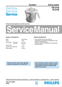 Service Manual Philips Comfort RI 2746