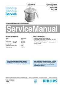 Руководство по техническому обслуживанию Philips Comfort HR 2746