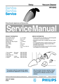 Manual de servicio Philips Daisy HR 6043