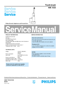 Service Manual Philips HX 1525