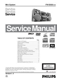 Manuale di servizio Philips FW-D550