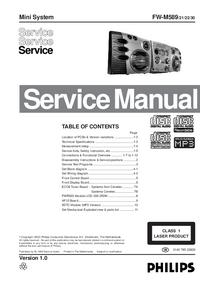 Manual de serviço Philips FW-M589