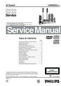 Instrukcja serwisowa Philips LX8200SA