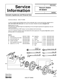 Manuale di servizio Supplemento Philips HR 8508/D