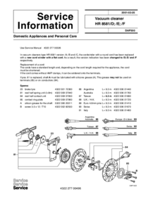 Manuale di servizio Supplemento Philips HR 8581/D