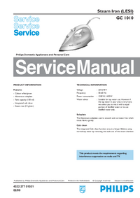 Manual de servicio Philips GC 1010