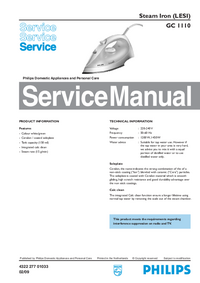 Manual de servicio Philips GC 1110