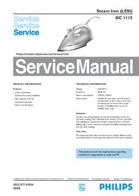 Manual de servicio Philips GC 1115