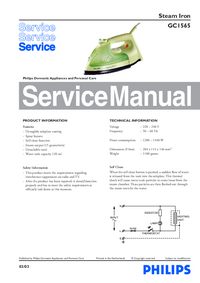 Руководство по техническому обслуживанию Philips GC1565