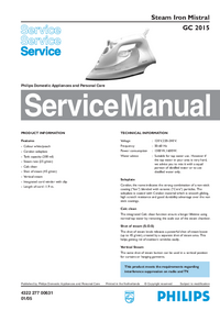 Service Manual Philips Mistral GC 2015