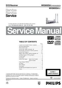 Manual de serviço Philips MX5800SA/ 21S