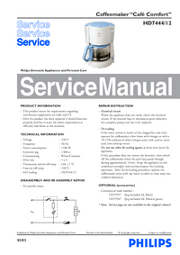 Manual de serviço Philips Café Comfort HD7444/12