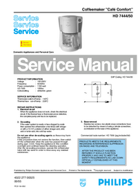 Service Manual Philips Cafe Comfort HD 7444/50