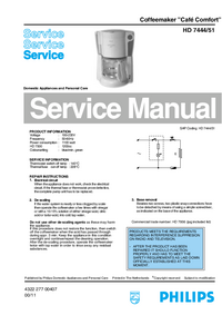 Service Manual Philips Café Comfort HD 7444/51