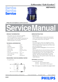 Service Manual Philips Café Comfort HD7444/52