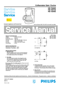 Service Manual Philips Gaia / Cucina HD 7500/E