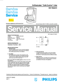 Service Manual Philips Café Cucino Lilac HD 7502/31